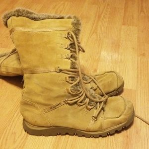 Skechers Nubuck Lace Up and Zippered Tall Boot